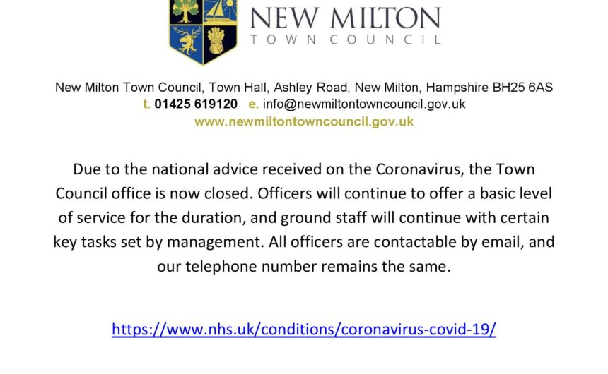 New Milton Town Council – Covid 19 update